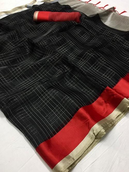 Black Colored Beautiful Organza Chex Saree - Miraki