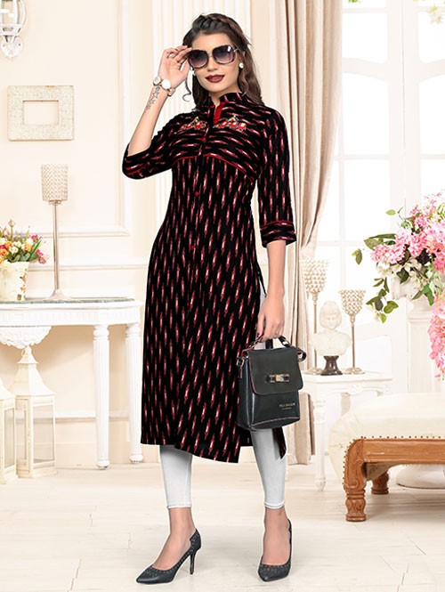 Black Colored Beautiful Print & Embroidered Straight Rayon Kurti
