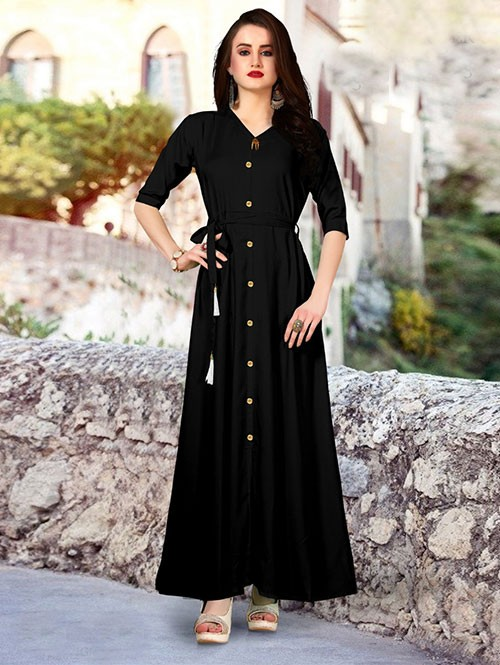 Black Colored Beautiful Printed A-Line Rayon Kurti.