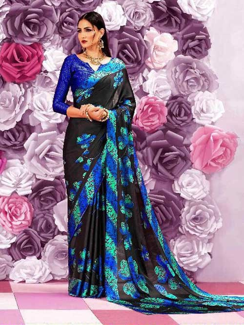 Black Colored Beautiful Printed Crepe Saree