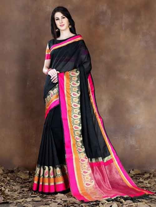 Black Colored Beautiful Pure Soft Cotton Saree With Exclusive Latkan