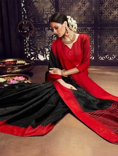 Black Colored Beautiful Raw Silk Saree