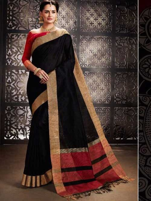 Black Colored Beautiful Raw Silk Saree With Double Blouse