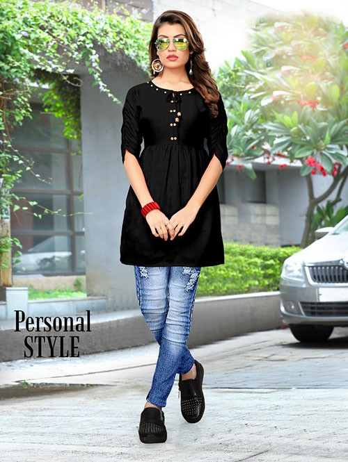 Black Colored Beautiful Rayon Kurti With Fancy Wooden Button