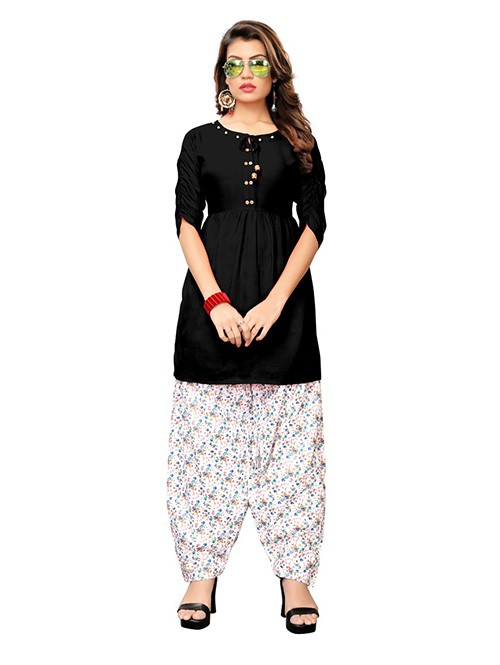 Black Colored Beautiful Rayon Kurti With Printed Patiala