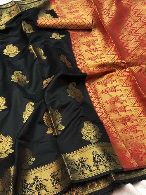 Black Colored Beautiful Soft Banarasi Silk Fancy Saree Online