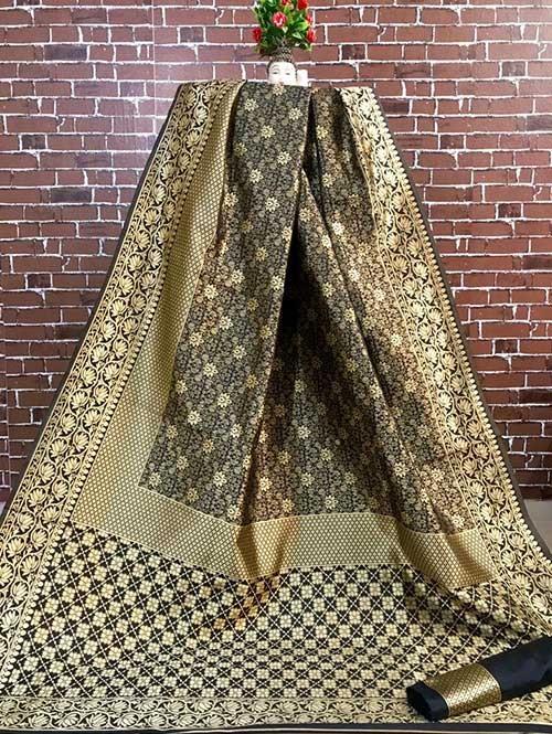 Black Colored Beautiful Soft Banarasi Silk Fancy Saree Online