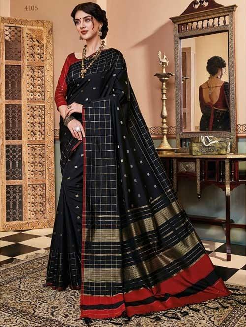 Black Colored Beautiful Soft Silk Fancy Saree Online - Mishika