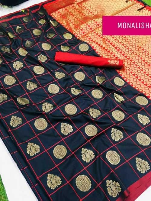 Black Colored Beautiful Soft Silk Saree Online - Monalisha