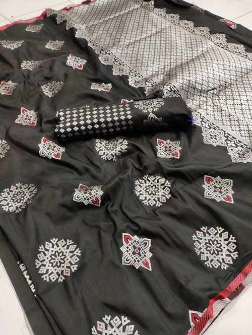 Black Colored Beautiful Soft Silk Traditional Saree Online - Bhagyashree