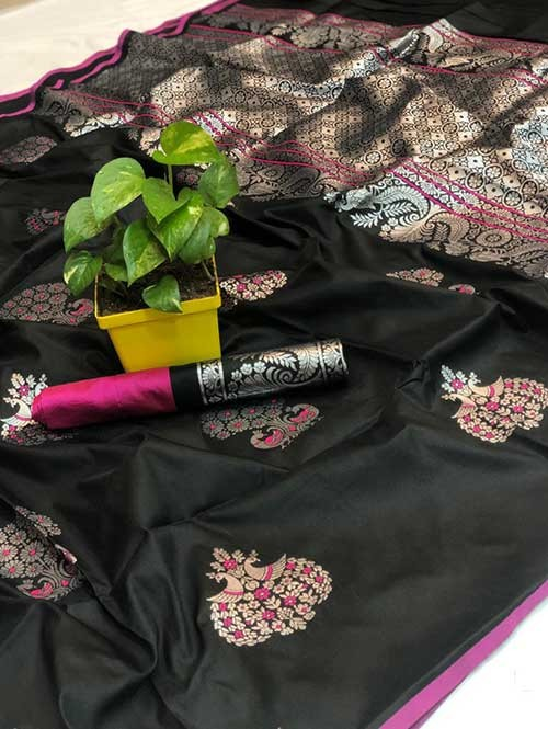 Black Colored Beautiful Soft Silk Traditional Saree Online
