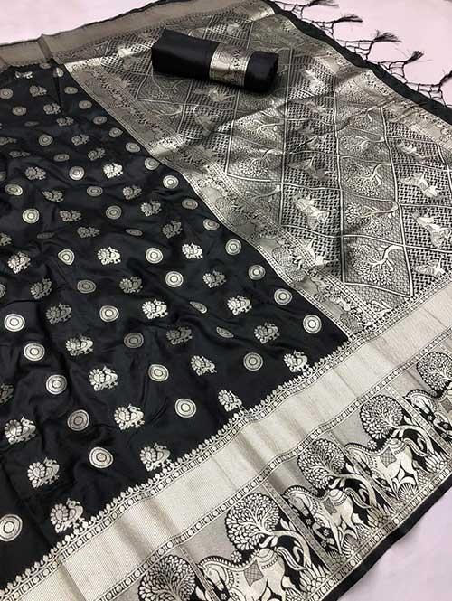 Black Colored Beautiful Soft Silk Traditional Saree With Kachi Border