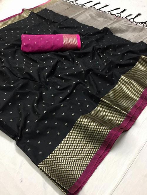Black Colored Beautiful Thousand Butta Of Zari Soft Saree - Kangan