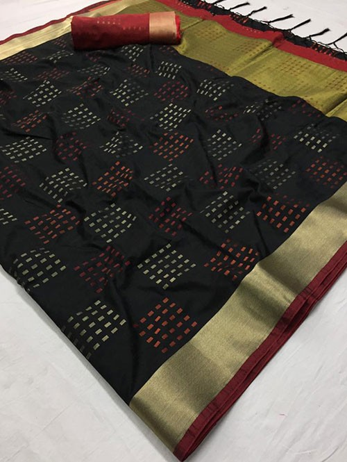 Black Colored Beautiful Thousand Butta Of Zari Soft Saree - Kangan