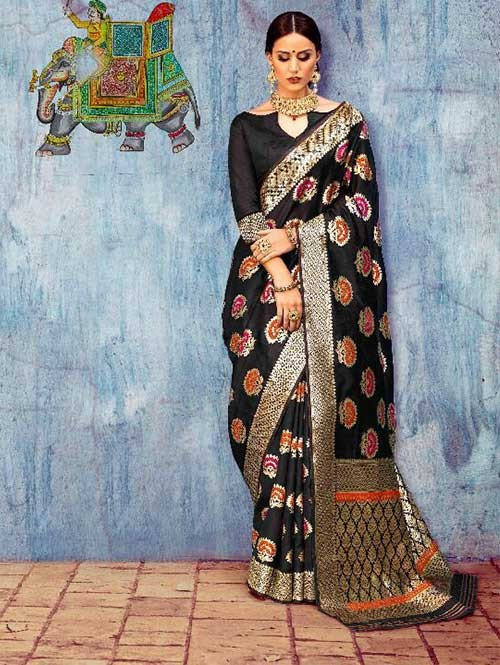 Black Colored Beautiful Waving Silk Saree