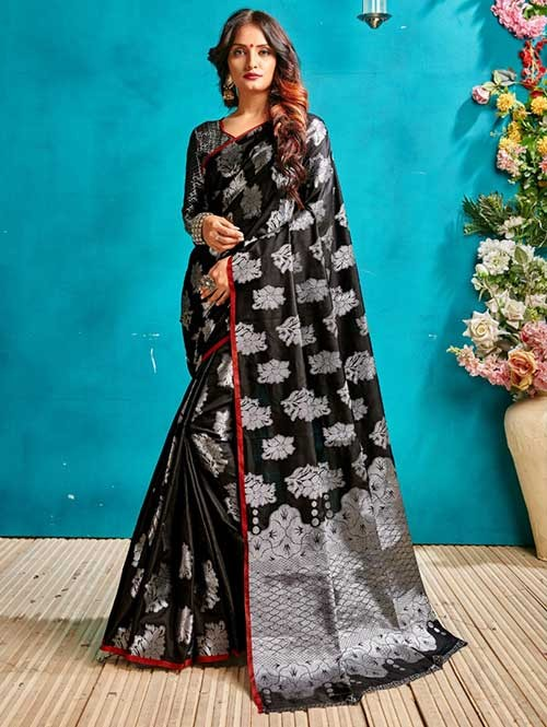 Black Colored Beautiful Weaving Banarasi Silk Saree - Silver
