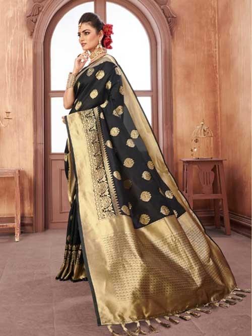 Black Colored Beautiful Weaving Silk Saree - Digi Moda