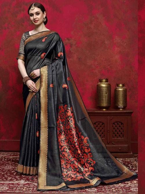 Black Colored Beautiful Weaving Silk Saree - Kalika