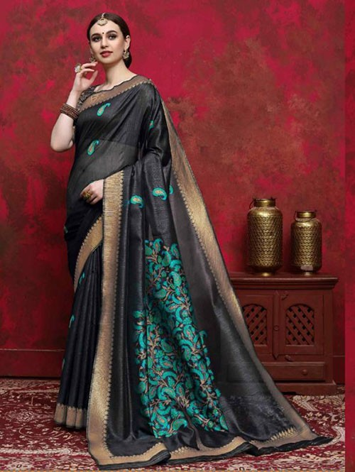 Black Colored Beautiful Weaving Silk Saree - Kalika