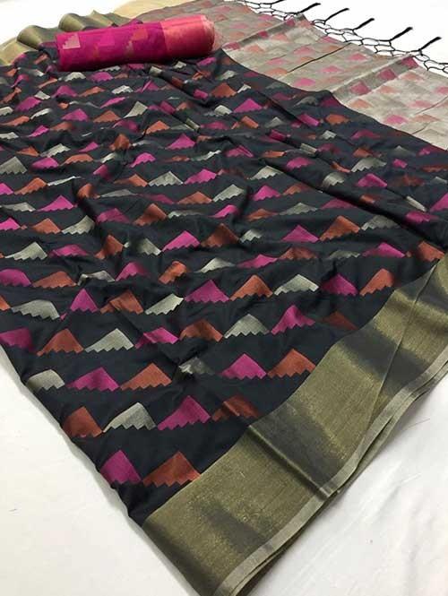 Black Colored Beautiful Weaving Silk Saree - Yutika