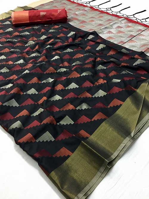 Black Colored Beautiful Weaving Silk Saree - Yutika