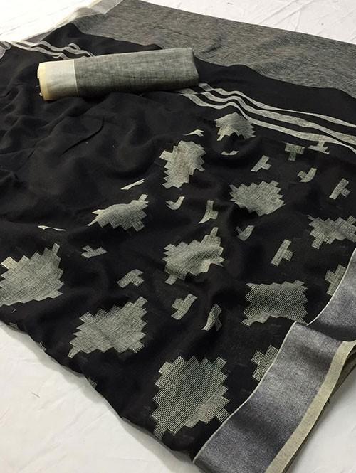 Black Colored Beautiful Woven Linen Saree - Sneha