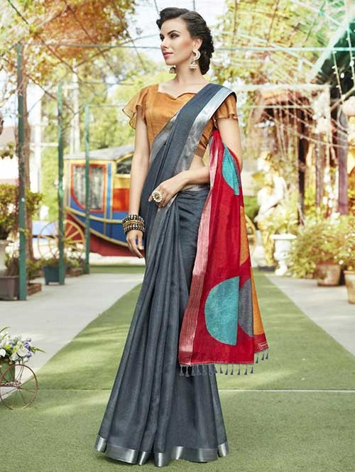 Black Colored Beautiful Zari weaving Linen Silk Traditional Saree