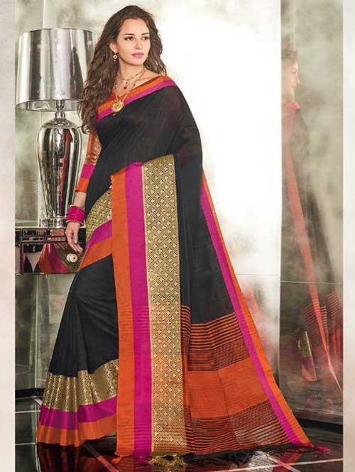 Black Colored Branded Weaving Silk Saree