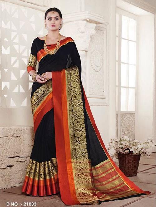 Black Colored Cotton Silk Saree