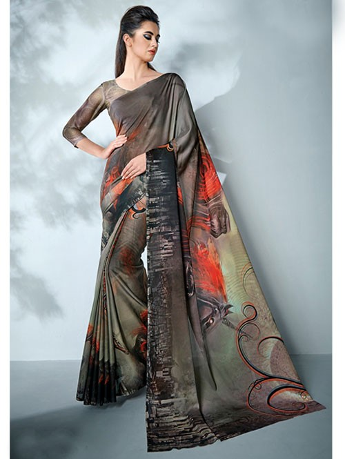 Black Colored Digital Printed Cotton Bladed Saree