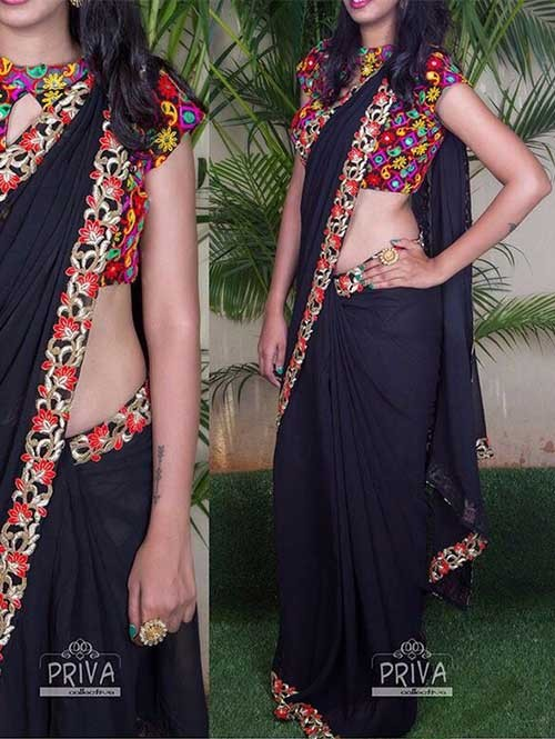 Black Colored Embroidered Georgette Saree