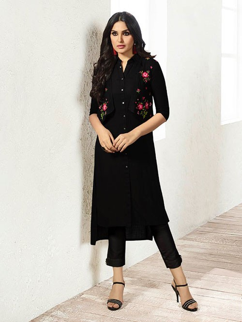 Black Colored Embroidered Rayon Kurti