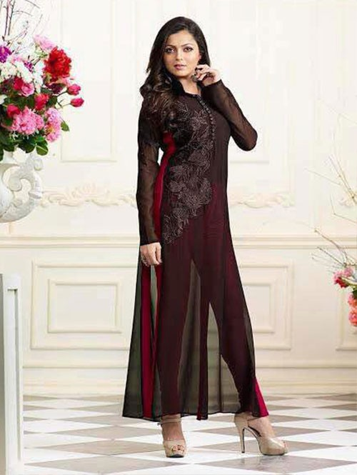 Black Colored Georgette Embroidered Kurti