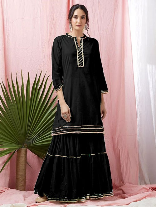 Black Colored Glorious Rayon Sharara Pant and Kurta With Gotta Patti - Eid Special