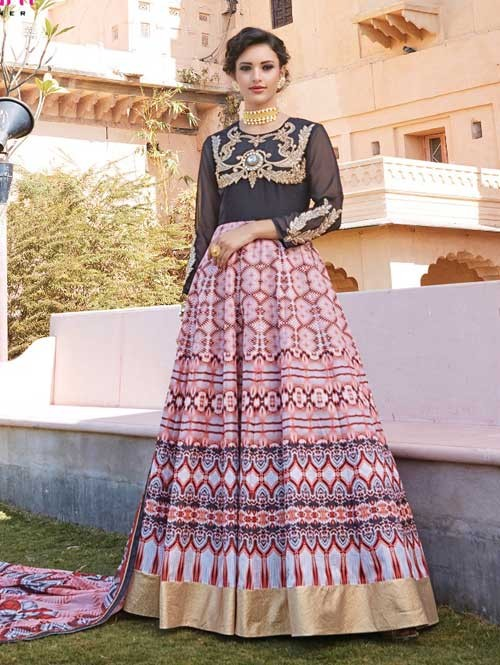 Black colored Gorgeous Printed Faux Georgette Anarkali Suit.