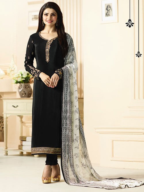 Black Colored Heavy Embroidered Royal Crepe Salwar Suit