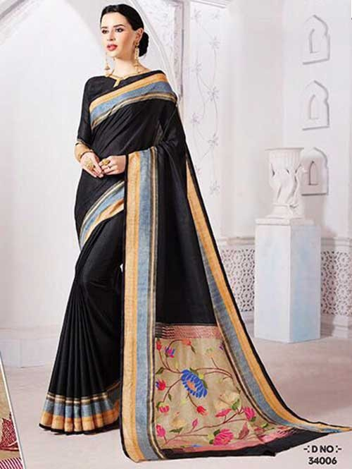 Black Colored Manipuri Silk Saree with Beautiful Embroidered on Pallu