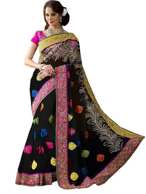 Black Colored net Beautiful Saree