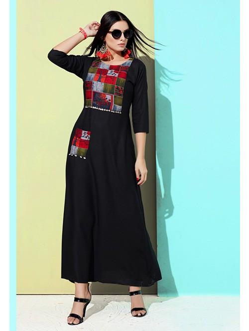 Black Colored Printed A-Line Cotton Kurti Online