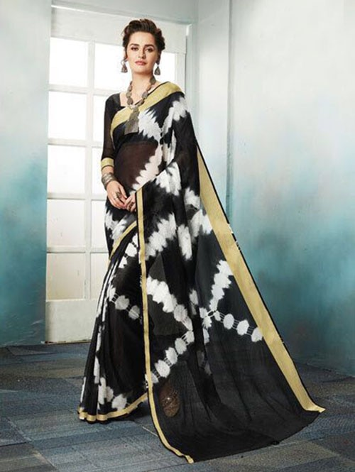 Black Colored Shibori Printed Kota Silk Saree