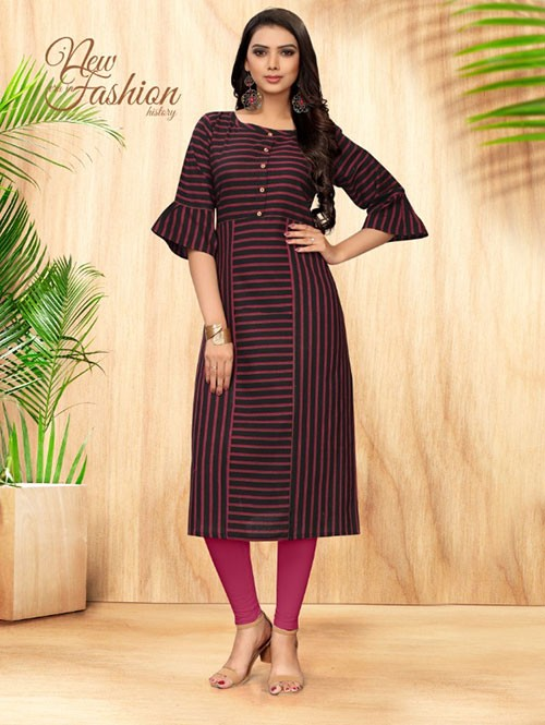 Black Colored Straight Handloom Cotton Kurti Online - 5 Star