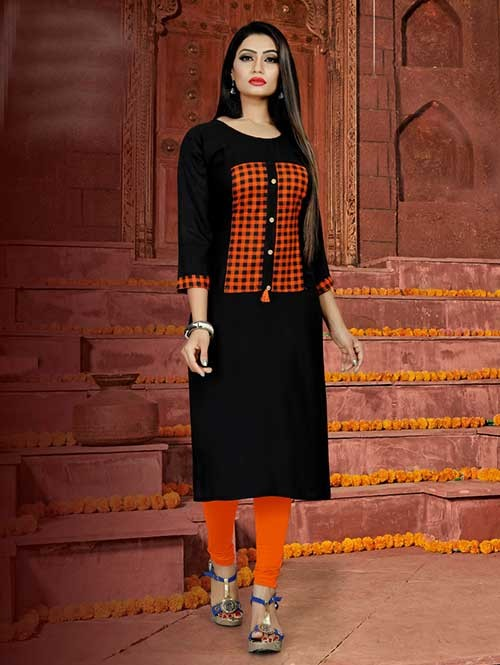 Black Colored Straight Rayon Print Kurti Online