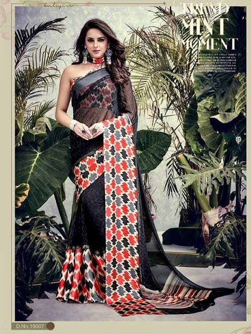 Black Colored weightless Satin Patta Printed Saree