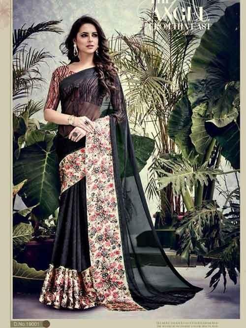 Black Colored weightless Satin Patta Printed Seree