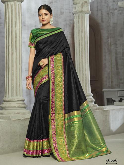 Black Colored Zari Chex Cotton Silk Saree - Arani