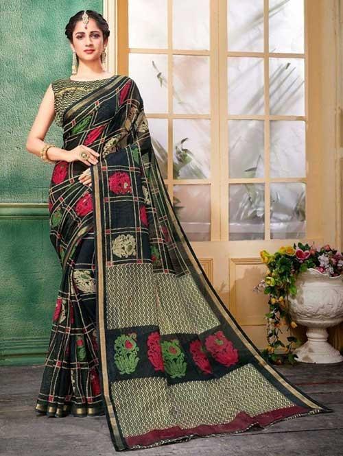 Black Colored Zari Chex Cotton Silk Saree - Vinamrta
