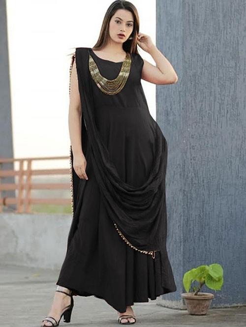Black Coored Saree Drape Style Indo-Western Rayon Kurti