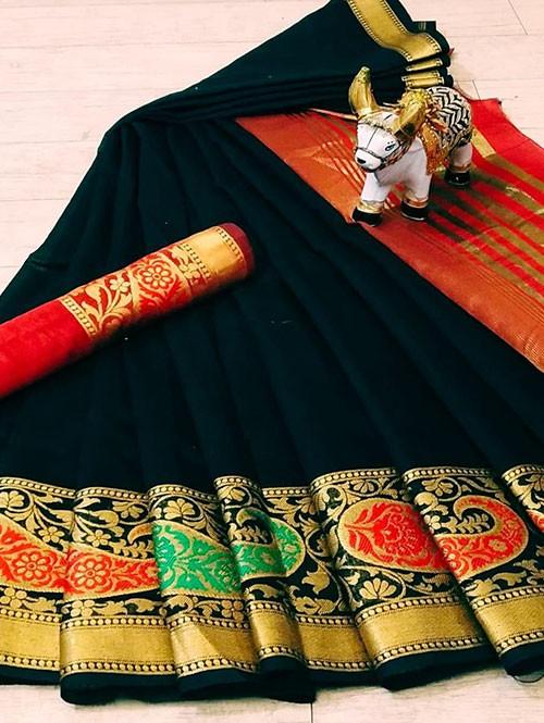 Black Soft Cotton saree with Blouse - cotton sarees online shopping