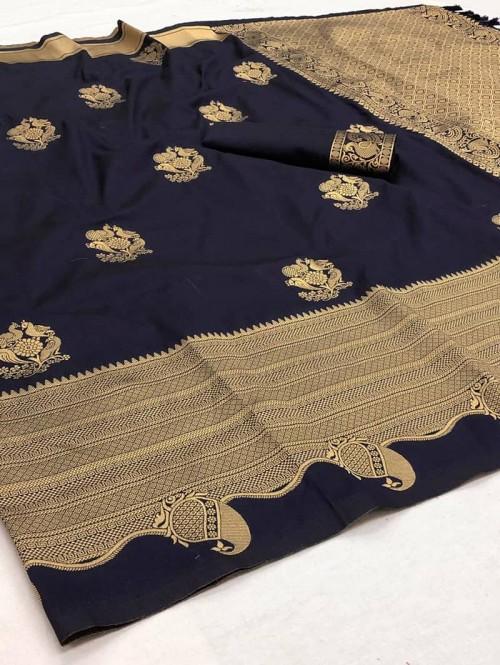 women's Black Softy silk Traditional saree