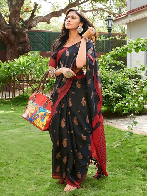 Black Colored Beautiful Woven Linen Silk Saree - Pearl